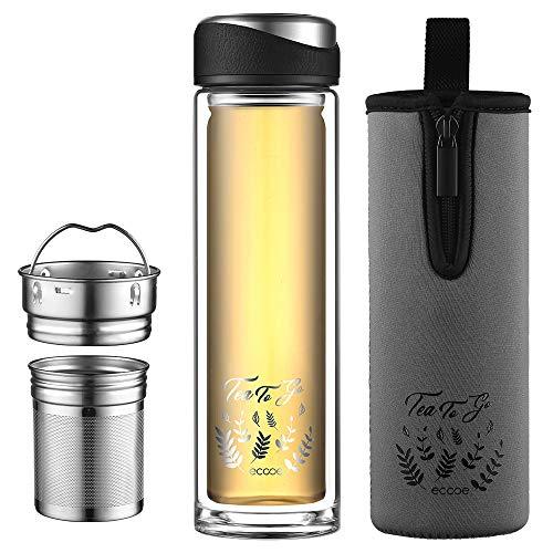 ecooe Teeflasche mit Seib 440ml Doppelwandig Teebecher to go Bottle Trinkflasche mit 18/8 Edelstahl Sieb und Schutztasche Tee Glasflasche Teezubereiter für Tee Kaffee Saft&Milchshak