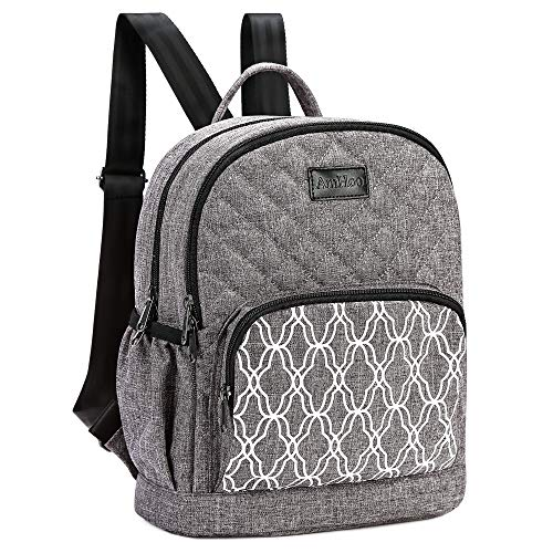 AmHoo Insulated Lunch Box Bag Reusable Cooler Backpack Double YKK Zippers Waterproof Multiple Pockets Quilted For Women Hiking Beach Picnic Trip,Grey
