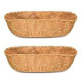 Vumdua 24' Trough Coco Fiber Replacement Liner, 2pcs Coco Liners for Planters, Natural Coconut Coir Planter, Garden Flower Vegetables Pot for Window Flower Box