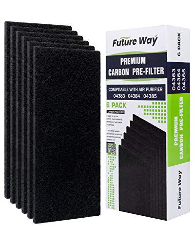 Future Way 6 Pack Carbon Pre Filters Replacement for Hamilton Beach TureAir 04383/04384/04386 Air Purifier, Pre Cut, Thickened to 1/2 Inch