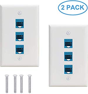 Ethernet Wallplate Cat6 2Pack,3 Port Ethernet Wall Plate Female-Female Removable Compatible with Cat7/6/6e/5/5e Ethernet Devices -Blue