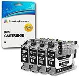 4 Negro Cartuchos de Tinta compatibles para Brother DCP-J562DW, MFC-J480DW, MFC-J680DW, MFC-J880DW   LC-221
