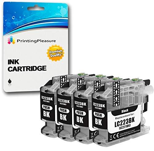 4 Negro Cartuchos de Tinta compatibles para Brother DCP-J562DW, MFC-J480DW, MFC-J680DW, MFC-J880DW | LC-221