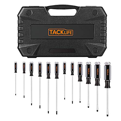 TACKLIFE Screwdriver Set 12 Pieces with Magnetic Slotted / Phillips Screwdriver, Acetate Screwdriver with Hard Handle with Housing HSS7B