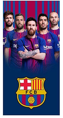 FCB Barcelona Football Club - Toalla de Playa (Tamaño Grande, 70 x 140 cm, 100% Algodón), Diseño de Jugadores de Barcelona