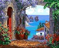 DIY 数字 油絵 塗り絵 キット 大人 子ども 塗り絵 青い海 デジタル油絵 手塗り 数字キットによる絵画 絵かき インテリア 壁飾り ホームデコレーション 40x50cm(額縁なし)