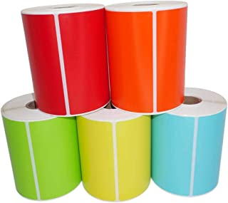 """5 Rolls; One of Each: Red Orange Green Yellow Blue 4x6 Direct Thermal 250 Color Labels per Roll Compatible with Zebra/Eltron- (4"""" x 6"""") - BPA Free!"""