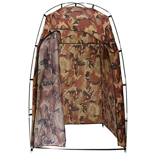 vidaXL Dusche WC Umkleidezelt mit 2 Ablagefächern Duschzelt Toilettenzelt Zelt Beistellzelt Lagerzelt Camping Umkleidekabine Tarnmuster