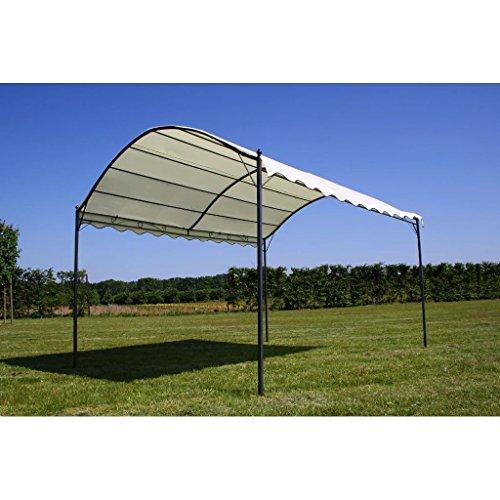 Nishore Pavillon Gartenpavillon Anbaupavillon Pergola aus Stahl wasserdicht 3 x 4 m Cremeweiß