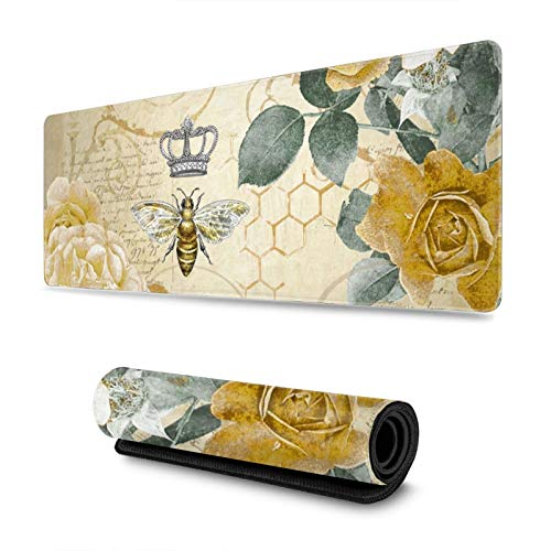 Vintage Bee Gaming Mouse Pad, Long Extended XL Mousepad Desk Pad, Large Non-Slip Rubber Mice Pads Stitched Edges, 31.5'' X 11.8''