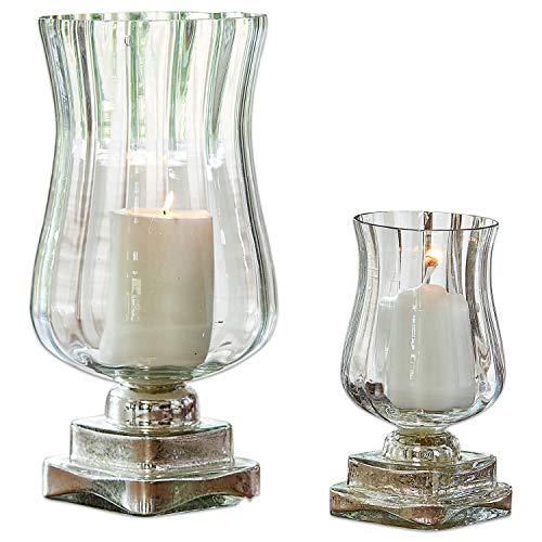 Loberon Windlicht 2er Set Lumio, Glas, H/Ø ca. 31/15 cm, klar/Silber