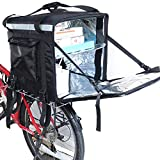PK-92Z: Big Insulated Pizza Delivery Bag with Cup Holder, 16' L x 16' W x 16' H, Thermal Food Delivery Box for Scooter, Heat Insulated Food Delivery Bag for Bike, Side Loading, 2-Way Zipper Closure