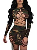 Women's Sexy Camouflage Print Crop Top Lace up Skirt 2 Pieces Outfits Bandage Mini Club Dress (X-Large, Camouflage)