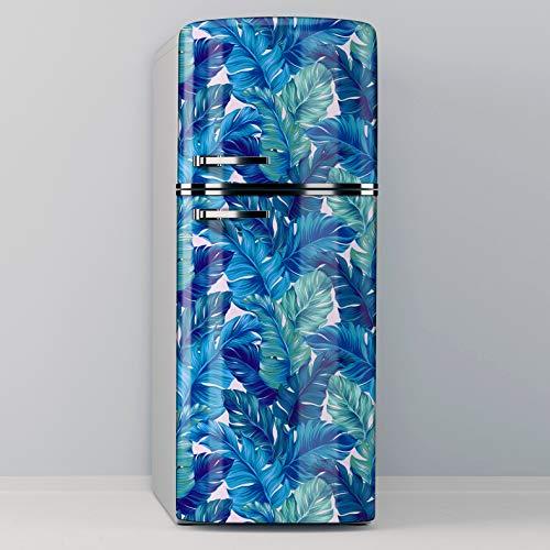 Vinilo Adhesivo Decorativo para Nevera, Especial Libre De Burbujas, Planta Con Hojas Azules Y Verdes (60x185cm)