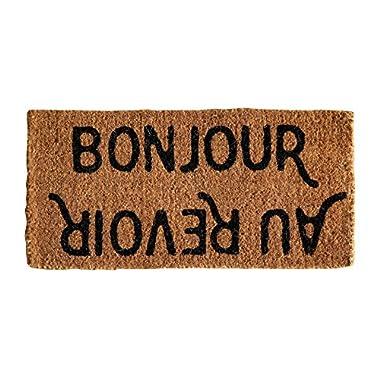 Creative Co-Op Natural Coir  Bonjour/Au Revoir  Doormat, 32  x 16