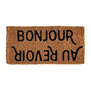 Creative Co-op DA5674 Bonjour/Au Revoir Rectangle Coir Doormat