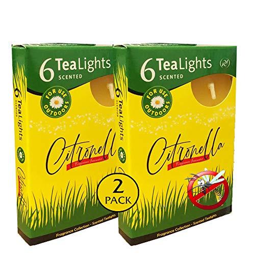 Santo Candles Candele Citronella Pura Anti-ZANZARE per Interni ed Esterni 12 tealight, Citronella