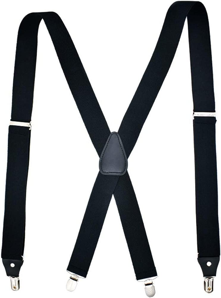 TOSSPER Men Braces Elastic Suspenders Clips Braces with Stainless Steel Metal Clips Basic Strap