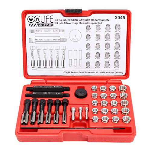 CCLIFE 33 tlg Zündkerzengewinde Reparatursatz Zündkerzen Glühkerzen Gewinde Reparatur Satz M8 M10 M12