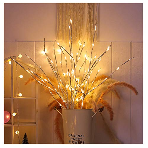 LXcom Branch Lights 4 Pack Lighted White Willow Twig Lighted Branch Battery Powered Wrapped Twig Branches Decorative Lights for Home Garden Party Wedding Decor, 20 LED Lights, Warm White