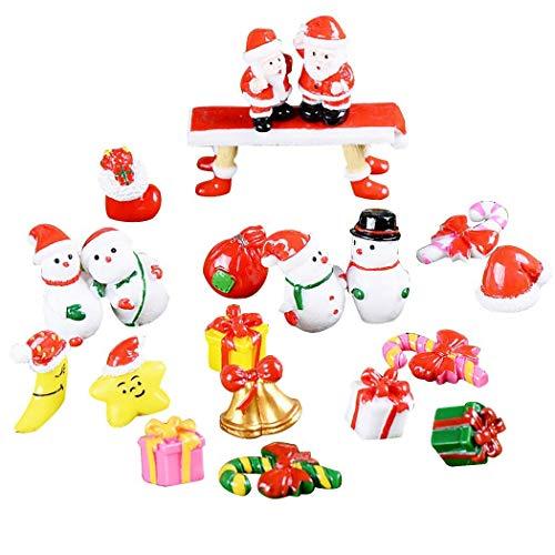 21 Stück Harz Miniatur Garten Figuren Weihnachten Mini Ornamente Set für Fee Garten Weihnachtsdeko Bonsai Puppenhaus Zuhause Tisch Dekoration Landschaft DIY Schneemann Weihnachtsmann Bell Zuckerstange