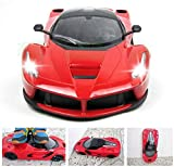 Giow Coche de Juguete Barato RC Speed Racing Boy Racing Toy Rojo 1:18 Escala Ferrari 2.4GHZ Control Remoto electrónico Cargable Drift Racing Hobby Toys Vehículos con Faros LED Rojo (Color: Azul