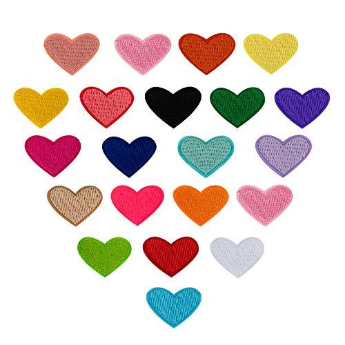 SAVITA 20 Stücke Aufbügeln Von Herzpflastern Aufnäher In Herzform Aufbügeln ügler Bügeleisen Patches Sticker Applikation DIY Herz Muster für T-Shirt Jeans Kleidung Reparaturen