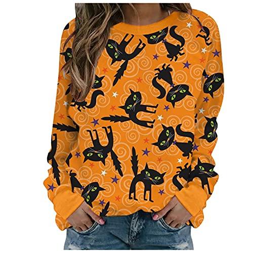 Fcostumer Halloween Pullover Damen,Damen Langarmshirt Pullover Sweatshirt Frauen Elegant Herbst Drucken Hemd Tops Pulli Langarm Teenager Mädchen Shirts Lose Bluse