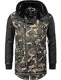 Navahoo Herren Übergangsjacke Mantel Parka mit Kunstleder-Ärmeln Shinook (vegan hergestellt) Camouflage Gr. 3XL