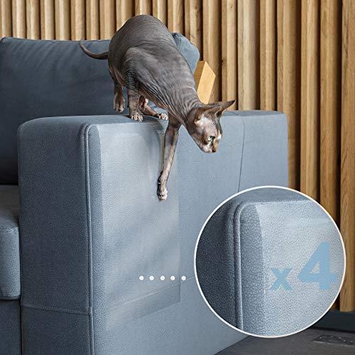 PROTECTO Protector Sofá Anti-Gatos y Anti-Arañazos en Muebles Diseño Leather Safe y Adhesivo Grip-Tight - Efectivo Disuasivo y Repelente Anti-Arañazos para Sofás Esquinas