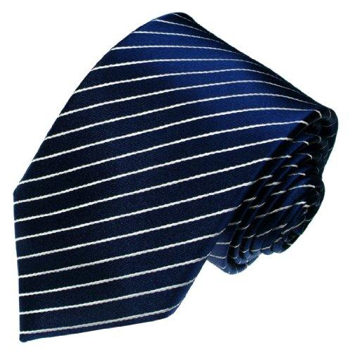 Lorenzo Cana - Designer Luxus Krawatte aus 100% Seide - Schlips blau weiss gestreift - 84281