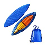 GYMTOP 7.8-18ft Waterproof Kayak Canoe Cover-Storage Dust Cover UV Protection Sunblock Shield for Fishing Boat\/Kayak\/Canoe 7 Sizes [Choose Color] (Dark Blue(Upgraded), Suitable for 10.8-12ft Kayak)