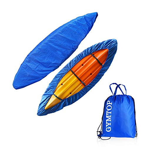 GYMTOP 7.8-18ft Waterproof Kayak Canoe Cover-Storage Dust Cover UV Protection Sunblock Shield for Fishing Boat/Kayak/Canoe 7 Sizes [Choose Color] (Dark Blue(Upgraded), Suitable for 10.8-12ft Kayak)