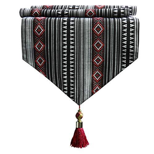 Camino de mesa de color bohemio, estilo etnico, hecho a mano, decoracion artistica superior, mesa de comedor 4,8, 32*230cm