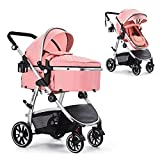 HAGADAY Baby Stroller, Infant Stroller with Reversible Seat, Newborn Stroller with Canopy,Baby Bassinet Stroller(Pink)
