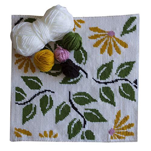 Kit de bordado para cojín | Cañamazo impreso de 40cm x 40 cm | Incluye lana y aguja de tapicería | Diseño Floral | de Delicatela