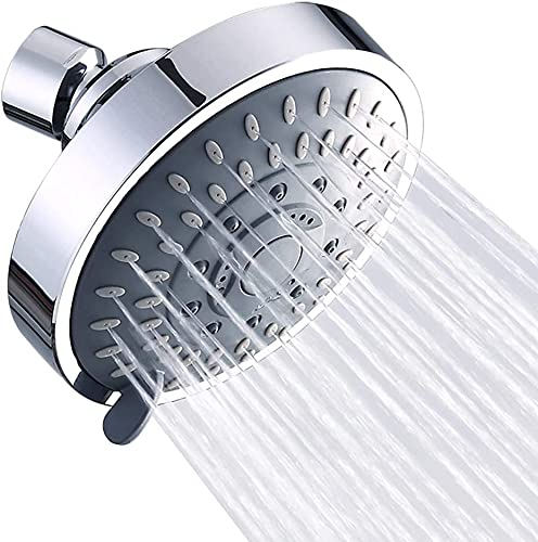 Shower Head High Pressure Rain Fixed Showerhead 5-Setting with Adjustable Metal Swivel Ball Joint - Relaxed Shower Experience Even at Low Water Flow & Pressure