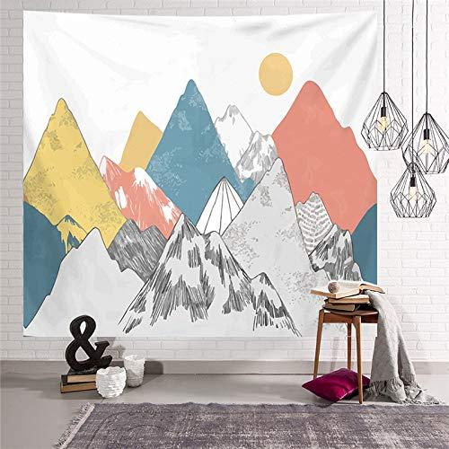 WERT Tapiz Colgante de Pared de montaña, Alfombrilla de Viaje para Acampar, patrón de Pintura al óleo de Amanecer, Alfombra de Yoga, Manta de Playa para Dormitorio A15 95x73cm