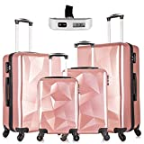 Paddie Luggage Set 4 Piece, Suitcase Set PC TPE Spinner Wheels Lightweight Hardside with FREE Luggage Scale 18' 20' 24'...