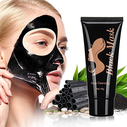 Blackhead Peel Off Mask, Removes Blackheads - Purifying Quality Blackhead Remover Charcoal Mask - Best Mud Facial Mask 60g Pack of 1 (Black) - by ENGIVE.