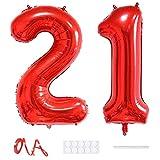 Xihuimay Globos numéricos 21 de 40 pulgadas de globo digital alfabeto 21 globos de helio dígito 21 globos grandes globos para fiestas de bodas despedida de soltera, número rojo 21