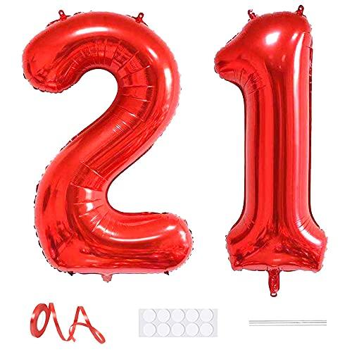 Xihuimay Globos numéricos 21 de 40 pulgadas de globo digital alfabeto 21...