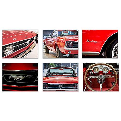 Car Love-Ford Mustang: Vintage Flash of a Beauty and All its Best Features. Set of 6 (8'x10' unframed) Photo Poster Prints Wall Decor
