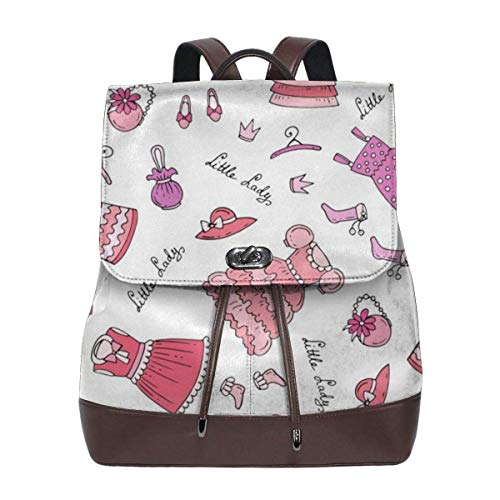 Flyup Pattern With Clothes For Little Girl Women's Leather Backpack Women's Fashion Leather Backpack For Women, Girls & Students Damen Leder Rucksack