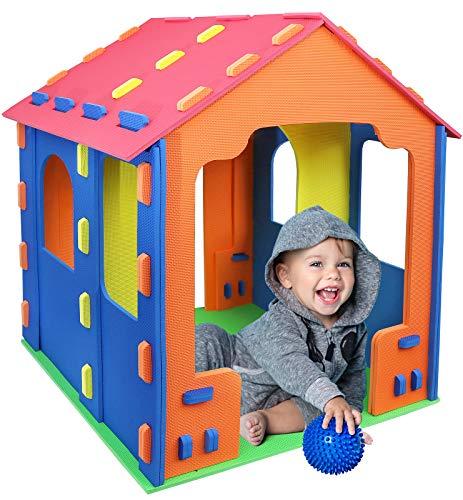 Click N' Play Tienda de campaña Gigante para niños de Espuma para niños y niñas Interior y Exterior, enclavada Espuma Eva Azulejos
