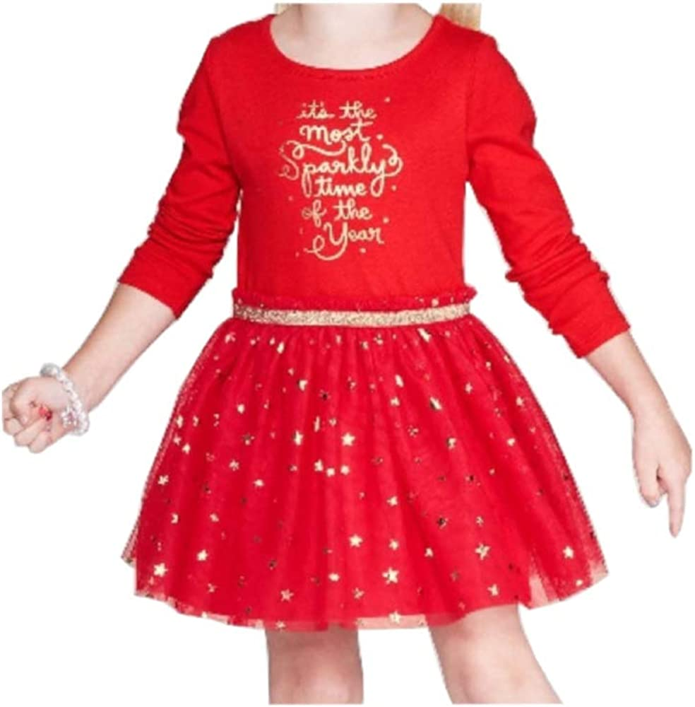 Cat & Jack Toddler Girls Size 4T Long Sleeve Holiday Tulle Dress, Wowzer Red