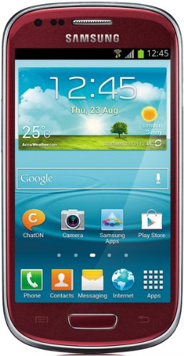Samsung Galaxy S3 mini I8190 Smartphone (10,2 cm (4 Zoll) AMOLED Display, Dual-Core, 1GHz, 1GB RAM, 5 Megapixel Kamera, Android 4.1) garnet-red