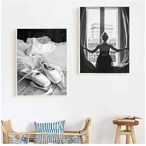 RuiChuangKeJi Nordische Ballettschuhe Kunst Leinwand Poster Druck Ballett Tänzer Bild Moderne Wohnkultur Metall Organisches Glas Gerahmt 2x40x60cm (15.7x23.6in) ohne Rahmen