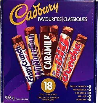 Cadbury Favourites 18 Full Size Chocolate Bars 2.1lbs  Canadian Product