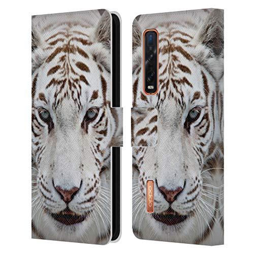 Head Case Designs Licenciado Oficialmente Catspaws Tigre Tigre Animales 2 Carcasa de Cuero Tipo Libro Compatible con OPPO Find X2 Pro 5G